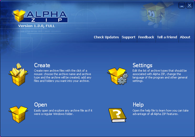Click to view Alpha ZIP 1.3 screenshot
